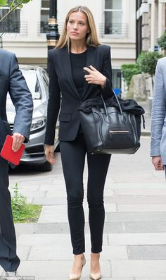 Model behaviour: Petra looked super stylish for her business meeting in her La Perla blazer