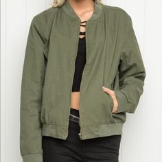 Olive Kasey bomber jacket Super cute and comfy. Refer back to the listing of the black one for how to style it! Brandy Melville Jackets & Coats