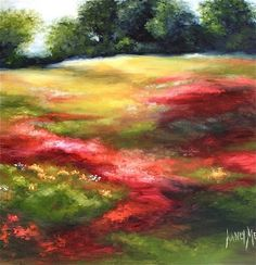 Nancy Medina's impressionistic painting really sings with the addition of red.