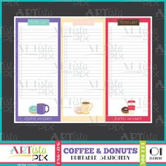 Coffee & Donuts To do list Note Pad Memo Pad Instant