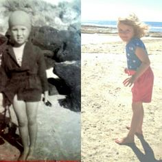My mum and my daughter at 4 years old on the beach. Not sure a 1950s childhood looks like much fun in that swimming cap and itchy knitted swimmers! #generations #beachbabe #familysnaps #1950s #1950schildhood #nostalia #australianchildhood #portfairy by vintagegreendesign
