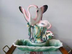 Vintage Lane & Co. Flamingos Ceramic TV Lamp Base with Planter by BornAtTheWrongTime