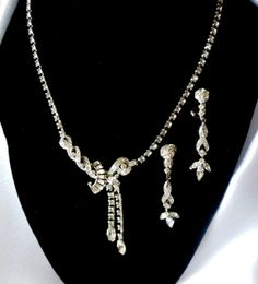 Signed Jomaz Necklace and Earring Set Bridal by Ladysfancys, $95.00