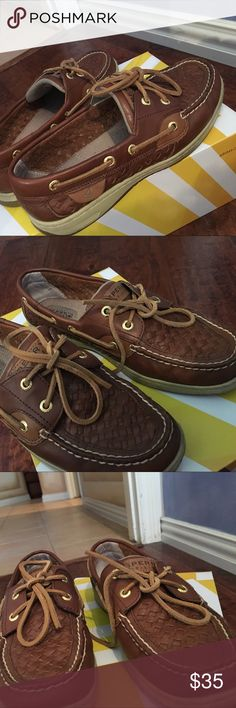 Brown braided leather sperrys in perfect condition Braided leather sperrys super cute for any summer outfit Sperry Top-Sider Shoes