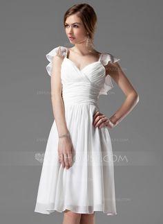 Bridesmaid Dresses - $96.99 - A-Line/Princess V-neck Knee-Length Chiffon Bridesmaid Dress With Ruffle Beading (007004117) http://jjshouse.com/A-Line-Princess-V-Neck-Knee-Length-Chiffon-Bridesmaid-Dress-With-Ruffle-Beading-007004117-g4117