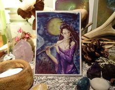 Enchanted Night mini Print/Faerie Print/Fairy by Freerangefaeries