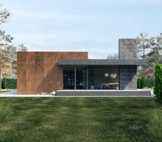 The house, with an area of square meters was designed for a small family. The cottage includes a kitchen-living room, bedroom and children's room. Functionally, the house is divided into 2 parts - personal and general. This is also highlighted in th… Modern Residential Architecture, Architecture Résidentielle, Minimalist Architecture, Japanese Architecture, Sustainable Architecture, Architecture Portfolio, Watercolor Architecture, Computer Architecture, Architecture Graphics