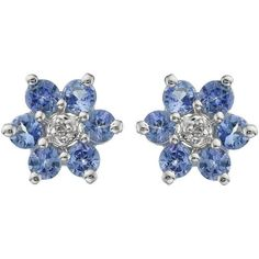 Love Gem 9 Carat White Gold Tanzanite And Diamond Flower Cluster... (6.985 RUB) ❤ liked on Polyvore featuring jewelry, earrings, diamond earrings, diamond flower earrings, white gold jewellery, white gold diamond earrings and tanzanite jewelry