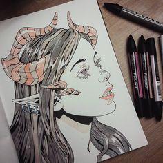 #copicmarkers #sketchbook #horns #devil