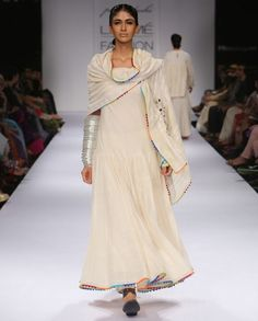 Pearl White Long Dress with Mirror Work Stole by Purvi Doshi Shop