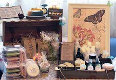 Pretty craft show display for soaps via Candlemomo.