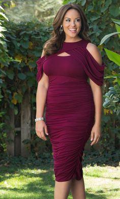 Plus Size Dress : Bianca Ruched Dress - Raspberry Romance : Curvalicious Clothes #plussize #plussizefashion