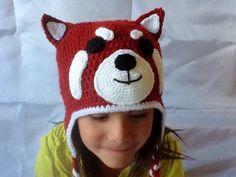 Crocheted Red Panda Hat for children. by AJsHooks on Etsy Loom Hats, Red Panda, Ladybug, Crochet Patterns, Crochet Hats, Beanie, Crafty, Crocheting, Knitting