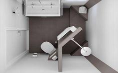 Bovenaanzicht van het badkamerontwerp voor de kleine badruimte : Moderne badkamers van Sani-bouw