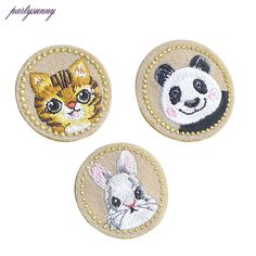 PF Animal Patches Panda Rabbit Cat Cartoon Embroidery Iron on Patch Hotfix DIY Clothing Badge Sewing Stickers on Patches TB159 #Affiliate
