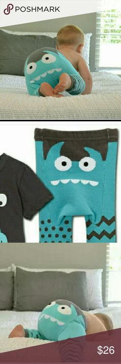 Doodlepants boutique monster leggings Teal and dark grey with teal and white  Size small fits 3-12 months doodlepants  Bottoms Leggings