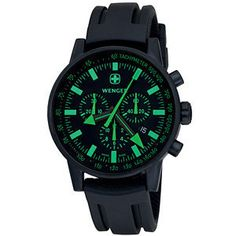 Wenger® Men's Swiss Raid Commando Chrono Black/Green Dial Black Strap Watch. $319.00 #WengerWatch