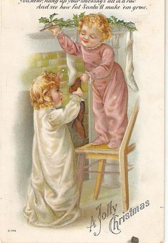 Adorable  Children hanging  Christmas cards by sharonfostervintage, $3.00