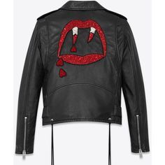 Saint Laurent BLOOD LUSTER Motorcycle Jacket in Black Slouchy Leather... (£4,690) ❤ liked on Polyvore featuring outerwear, jackets, yves saint laurent, moto jackets, rider jacket, leather motorcycle jacket and beaded jacket