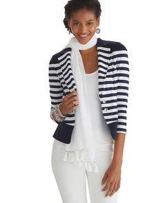 White House   Black Market Nautical Knit Jacket #whbm 570109703 White with Classic Navy 2