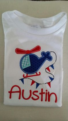 Banner Helicopter Applique Short Sleeve Shirt - Infant/Toddler/Kids Clothes - Summer - Helicopter - Boy - Fourth of July on Etsy, $20.00