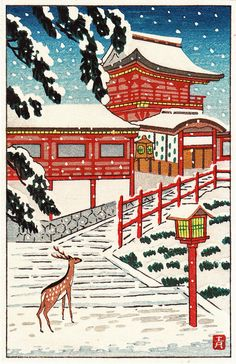 Japanese Woodblock Print Deer in Snow