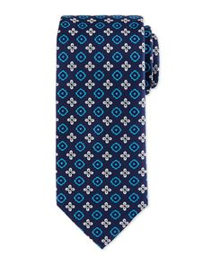 Floral+Square+Foulard+Silk+Tie,+Navy+by+Eton+at+Neiman+Marcus.