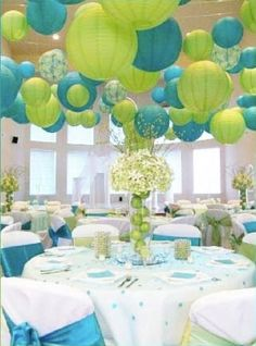 Blue Party Decorating Ideas aqua blue - lime green first birthday party - birthday party