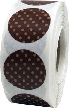 Brown Stickers with Tan Polka Dots  0.75 Inch by TheDotSpotLane