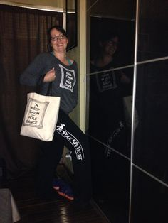 Our KEEP CALM AND POLE DANCE Sweatshirt in grey and canvas tote bag, and our IN POLE WE TRUST sweatpants! Poleitical Clothing from head to toe! www.etsy.com/shop/poleiticalclothing