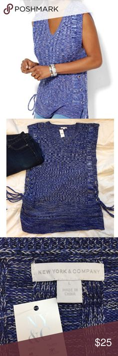 NWT   NY&CO Lace-up Sweater Top NWT   NY&CO Lace-up Hi-Lo  Top   Size: Large   Color: Grand Sapphire (blue) with white.  Light sweater like material: 100% acrylic New York & Company Tops Tunics
