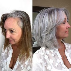 "Grey or silver hair seems to have become a bit of a ""thing"" recently. Here's 41 of the hottest grey hair looks you should be aiming for! Modern Short Hairstyles, Mom Hairstyles, Hairstyle Ideas, Grey Bob Hairstyles, Haircuts, Short Grey Hair, Short Hair Cuts, Grey Hair Bob, Grey Hair Looks"