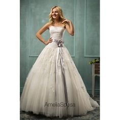Ball Gown Strapless Appliques Lace Ribbons Tulle Long Ivory Wedding Dress
