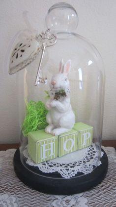 Easter Cloche Decor / via katie clemens Hoppy Easter, Easter Bunny, Easter Eggs, Cloche Decor, The Bell Jar, Bell Jars, Easter Crafts, Easter Decor, Easter Ideas
