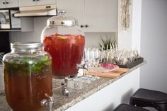 Drink bar from a Boho & Bubbly Baby Shower via KARA'S PARTY IDEAS | KarasPartyIdeas.com (34)