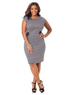 Ashley Stewart Checkered Sheath Dress