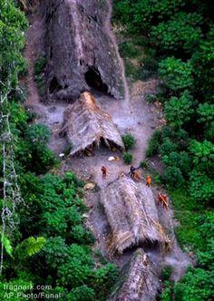 Isolated Amazon tribe village