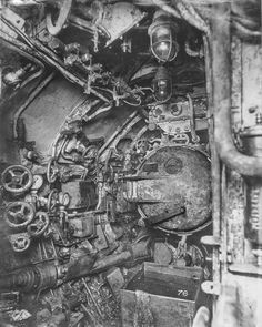 Inside a German submarine during the First world war