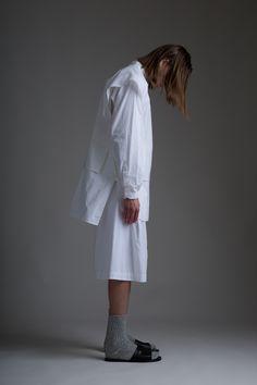 Hed Mayner Men's Tzitzit Shirt and Pleated Shorts. Vintage Venus et Jules tunic. Emerging Designer Clothing Dark Minimal Street Style Fashion