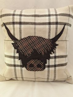 """Highland Applique Cow Cushion Country Style 16"""" Hand Made   eBay"""