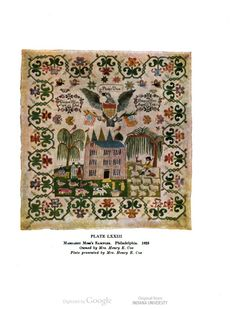 Margaret Moss's sampler, 1825. American samplers, by Ethel Stanwood Bolton and Eva Johnston Coe. #embroidery #samplers