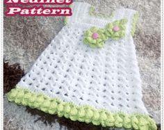 Crochet baby dress pattern, crochet baby clothing pattern, green flower decorating dress, 0-4 years, dress pattern, How to make baby dress