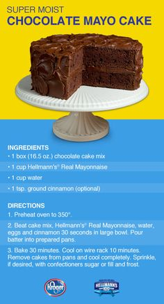 Mayonnaise Chocolate Cake Mike LOVED this cake!It was so moist and rich. I just used Betty Crocker chocolate frosting with it. JW in 2019 Chocolate Mayonnaise Cake, Chocolate Cake Mixes, Chocolate Recipes, Chocolate Frosting, Chocolate Chocolate, Chocolate Brownies, Cupcakes, Cookies Cupcake, Cupcake Cakes