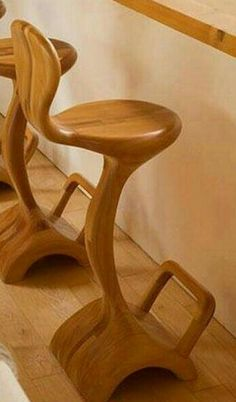 ☆ Waterfall Bar Chair :¦: By Artist Victor Klassen ☆ Unusual Furniture, Funky Furniture, Woodworking Furniture, Handmade Furniture, Home Decor Furniture, Painted Stools, Wood Design, Wood Crafts, Wood Projects