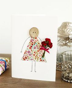 button and fabric Mothers Day card to make - Mothers Day cards - Craft - allaboutyou.com