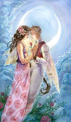 Fairy Love Art Print Steampunk and Moon Romance.