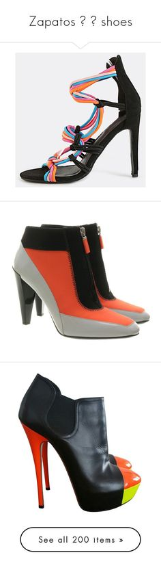 Zapatos   shoes by georginalan on Polyvore featuring polyvore, women's fashion, shoes, pumps, black, multicolor pumps, black strappy pumps, black strappy shoes, high heel pumps, black strappy stilettos, boots, ankle booties, ankle bootie boots, block-heel boots, patent leather bootie, patent leather ankle boots, patent leather booties, neon boots, mid-heel shoes, black boots, pre owned shoes, mid-heel boots, black multi, neon pink pumps, suede shoes, suede pumps, black shoes, black