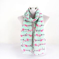 Lightweight Soft Sky Blue White Flamingo Swan Birds Print Infinity Scarves //Price: $8.99 & FREE Shipping //     #sale