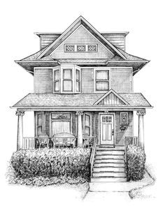 Renderings/drawings of bungalows, two-flats, six-flats, Chicago-style residential architecture in pen and ink, greystones illustrated and Victorian cottages Building Sketch, Building Drawing, Building Illustration, House Illustration, Landscape Sketch, Landscape Drawings, House Sketch, House Drawing, Architecture Concept Drawings