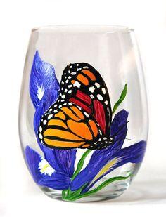 Butterfly painted wine glass https://www.etsy.com/listing/466338469/butterfly-wine-glass-hand-painted